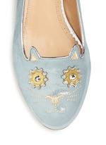 'Mechanical Kitty' metallic suede flats