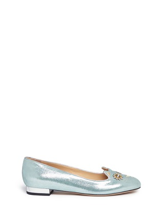Charlotte Olympia - 'Mechanical Kitty' metallic suede flats
