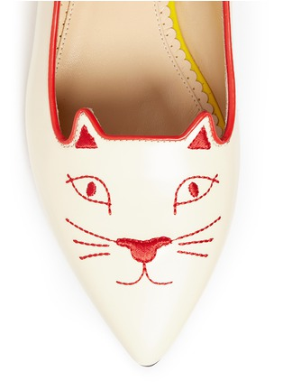 Detail View - Click To Enlarge - Charlotte Olympia - 'Mid-Century Kitty' contrast heel leather flats