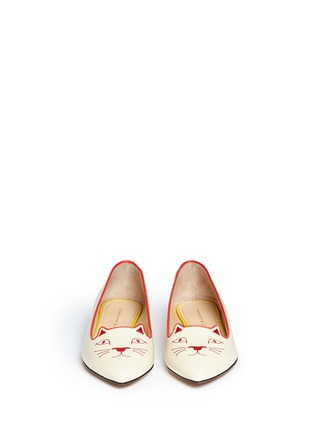 Front View - Click To Enlarge - Charlotte Olympia - 'Mid-Century Kitty' contrast heel leather flats
