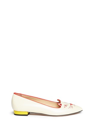 Main View - Click To Enlarge - Charlotte Olympia - 'Mid-Century Kitty' contrast heel leather flats