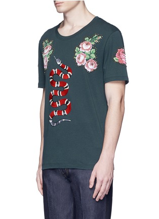 Front View - Click To Enlarge - Gucci - Snake embroidery flower print T-shirt