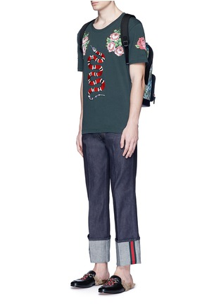 Figure View - Click To Enlarge - Gucci - Snake embroidery flower print T-shirt