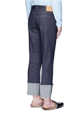 Back View - Click To Enlarge - Gucci - Rolled cuff wide leg jeans