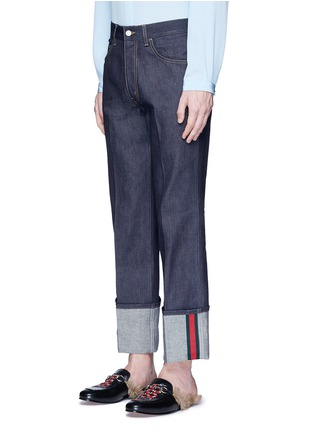 Front View - Click To Enlarge - Gucci - Rolled cuff wide leg jeans