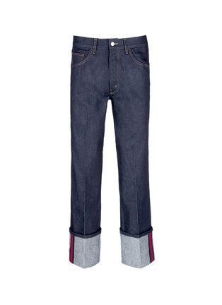 Main View - Click To Enlarge - Gucci - Rolled cuff wide leg jeans
