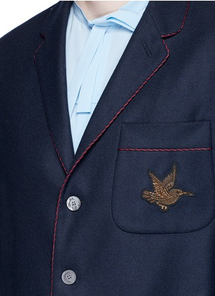 Detail View - Click To Enlarge - Gucci - Bee embroidery cashmere pyjama blazer