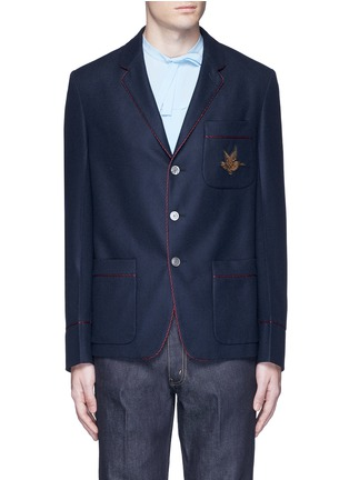 Main View - Click To Enlarge - Gucci - Bee embroidery cashmere pyjama blazer