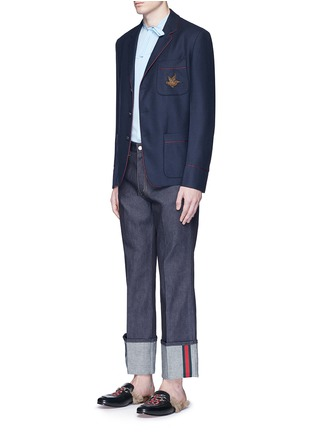 Figure View - Click To Enlarge - Gucci - Bee embroidery cashmere pyjama blazer