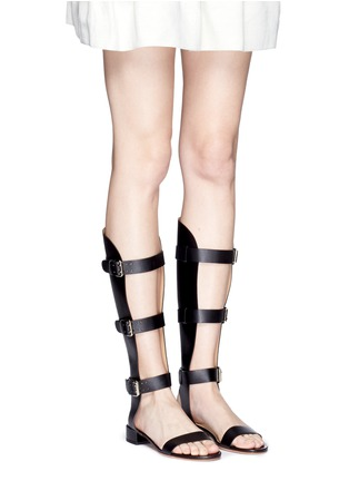 Figure View - Click To Enlarge - Francesco Russo - Cutout shaft leather gladiator sandals