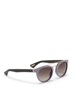 LANVINDouble bridge colourblock acetate round sunglasses