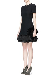 ALEXANDER MCQUEEN Silk pleat hem crepe dress