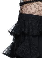 荷叶边花卉蕾丝透视连衣裙