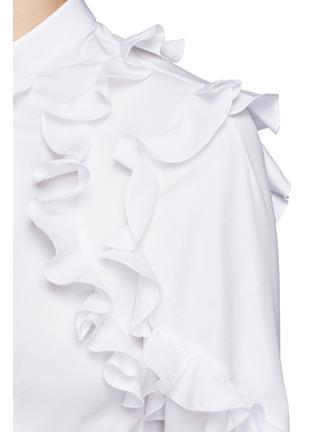 Detail View - Click To Enlarge - Alexander McQueen - Frill trim cotton poplin shirt