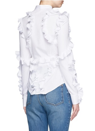 Back View - Click To Enlarge - Alexander McQueen - Frill trim cotton poplin shirt