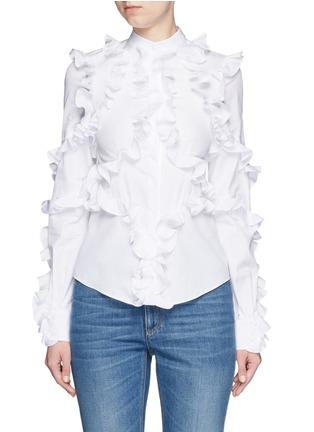 Main View - Click To Enlarge - Alexander McQueen - Frill trim cotton poplin shirt
