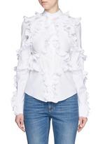 Frill trim cotton poplin shirt