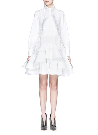 Main View - Click To Enlarge - Alexander McQueen - Floral jacquard pleated tier ruffle shirt dress