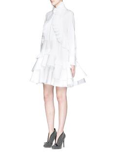 ALEXANDER MCQUEENFloral jacquard pleated tier ruffle shirt dress