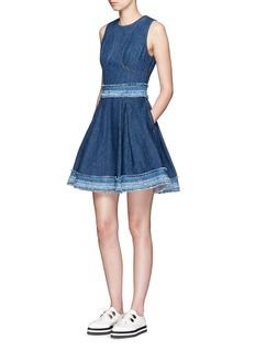 ALEXANDER MCQUEENFrayed tier trim denim flare dress