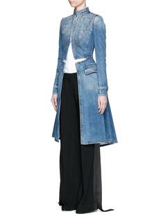 ALEXANDER MCQUEENCutout front tailored denim long coat