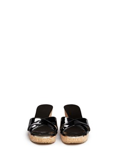 JIMMY CHOO 'Panna' cork wedge patent leather sandals