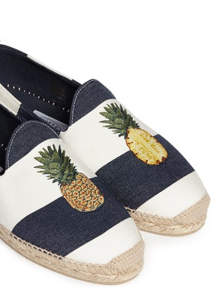 Detail View - Click To Enlarge - Stubbs & Wootton - Pineapple embroidery stripe canvas espadrilles