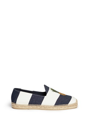 Main View - Click To Enlarge - Stubbs & Wootton - Pineapple embroidery stripe canvas espadrilles