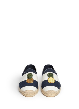 Figure View - Click To Enlarge - Stubbs & Wootton - Pineapple embroidery stripe canvas espadrilles