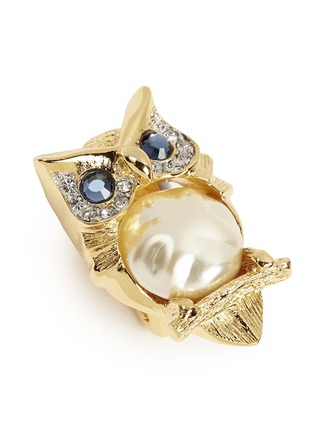 Detail View - Click To Enlarge - Kenneth Jay Lane - Crystal pavé faux pearl owl clip earrings