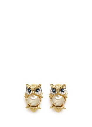 Main View - Click To Enlarge - Kenneth Jay Lane - Crystal pavé faux pearl owl clip earrings