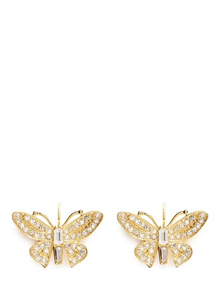 Main View - Click To Enlarge - Kenneth Jay Lane - Crystal pavé butterfly drop earrings
