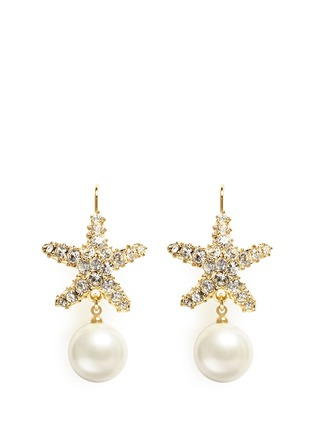 Main View - Click To Enlarge - Kenneth Jay Lane - Crystal pavé faux pearl starfish drop earrings