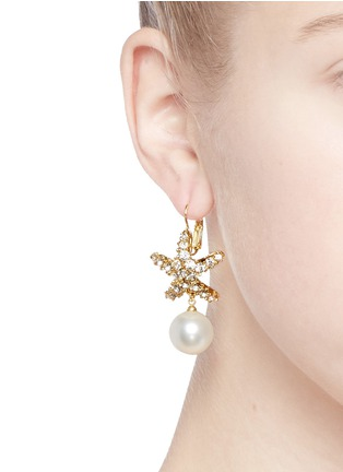 Figure View - Click To Enlarge - Kenneth Jay Lane - Crystal pavé faux pearl starfish drop earrings