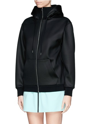 Front View - Click To Enlarge - T By Alexander Wang - Bonded scuba jersey hoodie