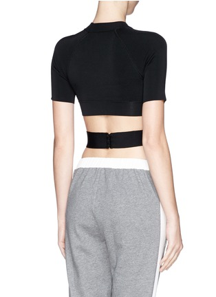 Back View - Click To Enlarge - T By Alexander Wang - Criss cross band stretch cropped top