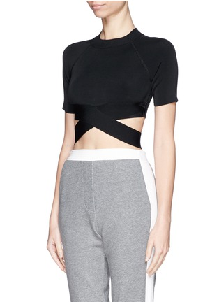 Front View - Click To Enlarge - T By Alexander Wang - Criss cross band stretch cropped top