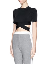 Criss cross band stretch cropped top