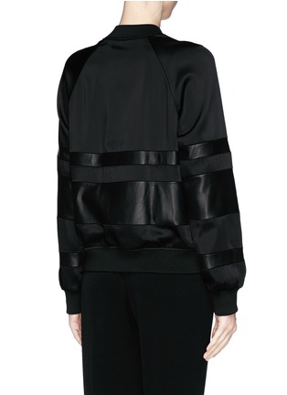 Back View - Click To Enlarge - T By Alexander Wang - Lamb leather stripe bomber jacket