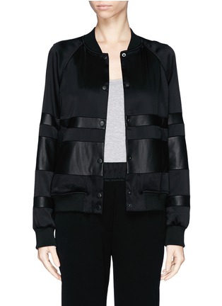 Main View - Click To Enlarge - T By Alexander Wang - Lamb leather stripe bomber jacket