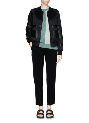 Figure View - Click To Enlarge - T By Alexander Wang - Lamb leather stripe bomber jacket