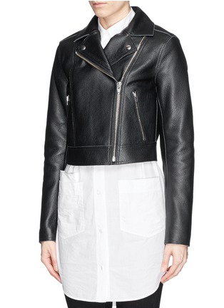 Front View - Click To Enlarge - T By Alexander Wang - Cropped leather biker jacket