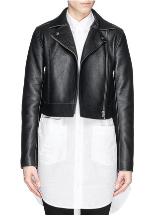 Main View - Click To Enlarge - T By Alexander Wang - Cropped leather biker jacket