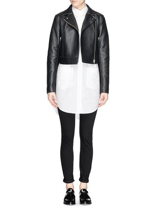 Figure View - Click To Enlarge - T By Alexander Wang - Cropped leather biker jacket