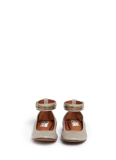 LANVINChain ankle strap leather ballerinas