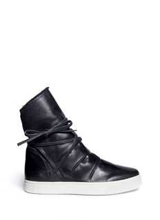PEDDER REDTerry cuff leather sneaker boots