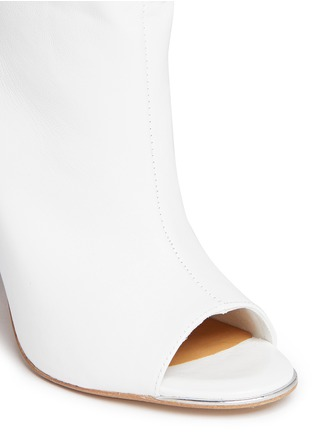 Detail View - Click To Enlarge - Pedder Red - Peep toe ruche cuff leather ankle boots