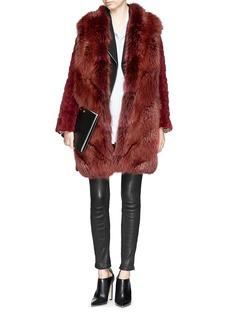 HOCKLEY'Flamingo' nutria fur collar fox fur coat