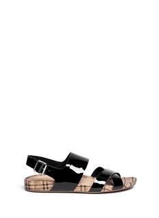 PEDDER REDPatent leather strap tartan cork sandals