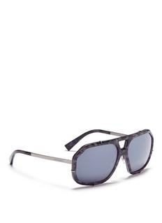 Dolce & GabbanaCamouflage acetate front metal square sunglasses